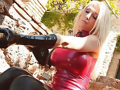 Amateur, Blonde, Latex, Outdoor, Stockings