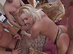 Blowjob, Gangbang, Group Sex, Blonde, Lingerie
