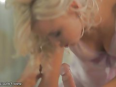 Blonde, Blowjob, CFNM, Cum in mouth