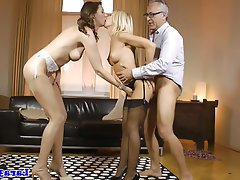 MILF, Stockings, Threesome