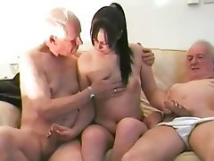 Blowjob, Brunette, Handjob, Old and Young, Threesome