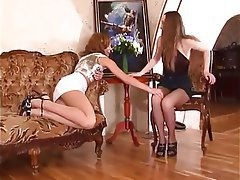 Foot Fetish, Lesbian, Lingerie, Pantyhose, Russian