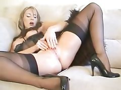 Lingerie, Masturbation, MILF, Orgasm, Stockings